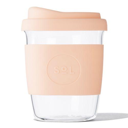 Reusable Glass Coffee Cup (Paradise Peach) - 235ml (8oz)