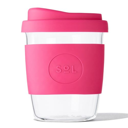 Reusable Glass Coffee Cup (Peacock Pink) - 235ml (8oz)