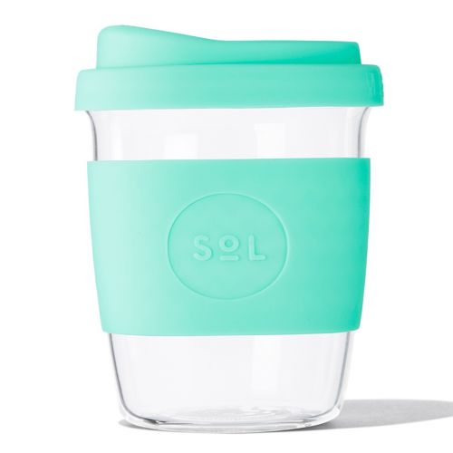Reusable Glass Coffee Cup (Mighty Mint) - 235ml (8oz)