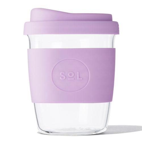 Reusable Glass Coffee Cup (Lavender) - 235ml (8oz)