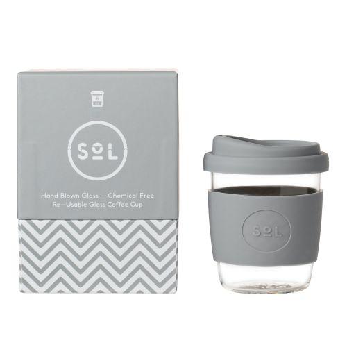 Reusable Glass Coffee Cup (Cool Grey) - 235ml (8oz)
