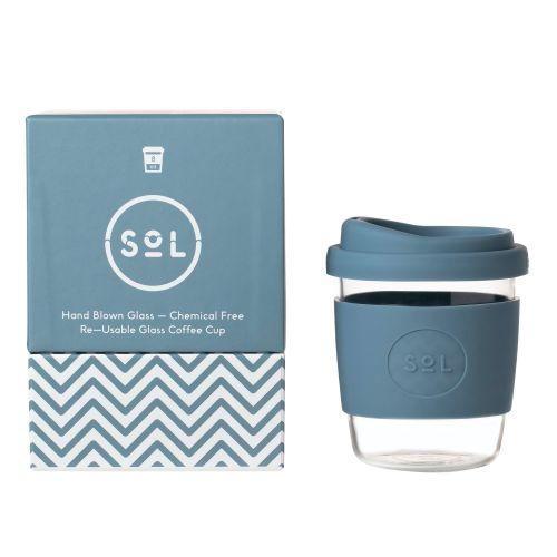 Reusable Glass Coffee Cup (Blue Stone) - 235ml (8oz)