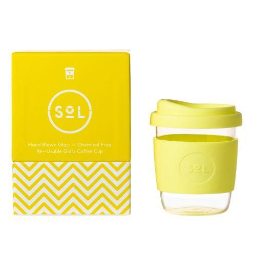 Reusable Glass Coffee Cup (Yummy Yellow) - 235ml (8oz)