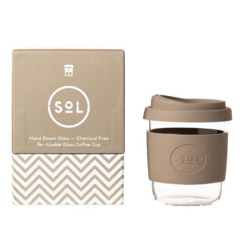 Reusable Glass Coffee Cup (Seaside State) - 235ml (8oz)