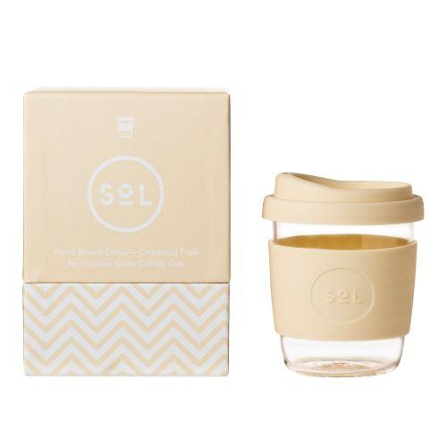Reusable Glass Coffee Cup (Coastal Cream) - 235ml (8oz)