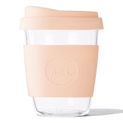 Reusable Glass Coffee Cup (Paradise Peach) - 355ml (12oz)