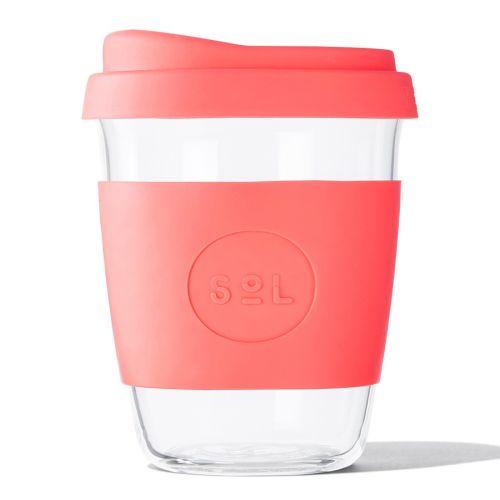 Reusable Glass Coffee Cup (Tropical Coral) - 355ml (12oz)
