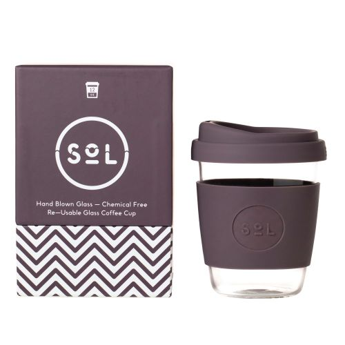 Reusable Glass Coffee Cup (Mystic Mauve) - 355ml (12oz)