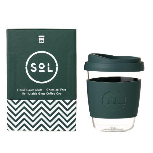 Reusable Glass Coffee Cup (Deep Sea Green) - 355ml (12oz)