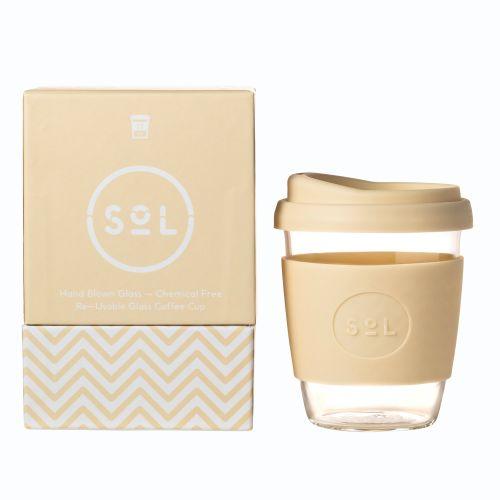 Reusable Glass Cup Coffee (Coastal Cream) - 355ml (12oz)