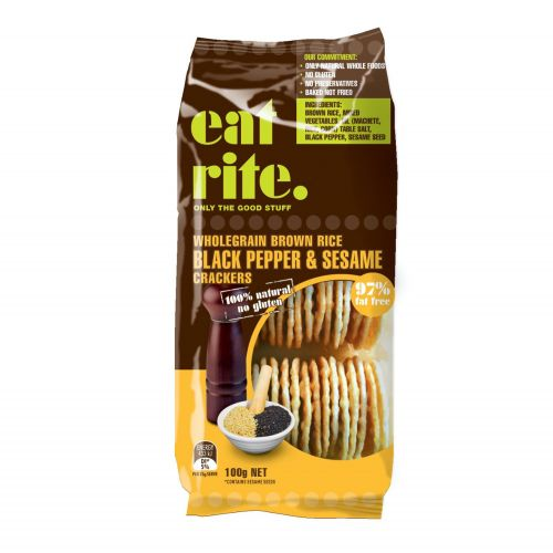 Brown Rice Crackers with Black Pepper & Sesame Seeds - 100g
