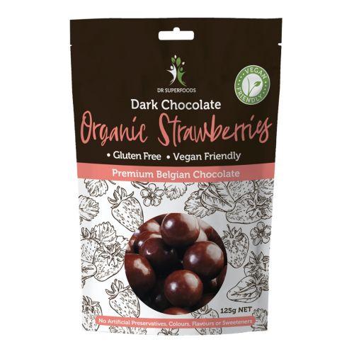 Dark Chocolate Coated Organic Strawberries - 125g