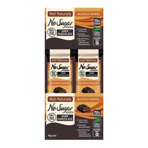 No Sugar Added Valencia Orange Dark Chocolate Bar - 16 x 45g