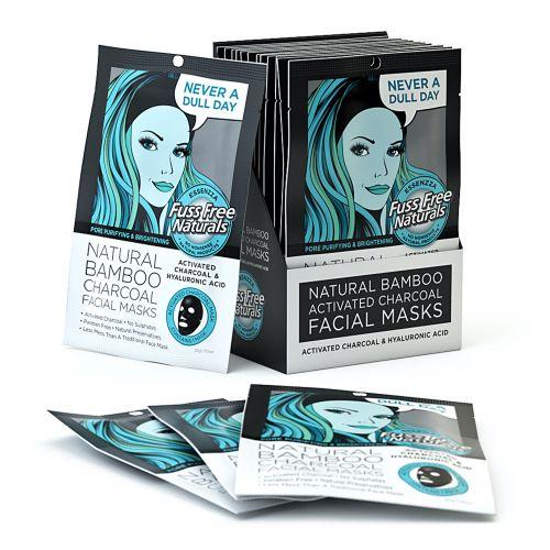 Charcoal & Hyaluronic Acid Facial Mask - 12 Masks
