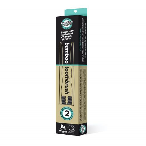Activated Charcoal Toothbrush - 2 Pack Medium