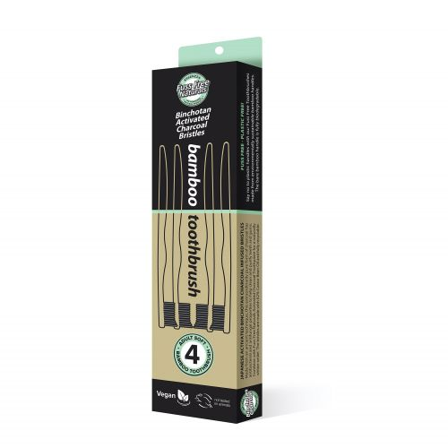 Activated Charcoal Toothbrush - 4 Pack Soft