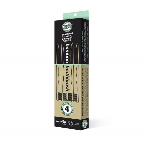 Activated Charcoal Toothbrush - 4 Pack Medium
