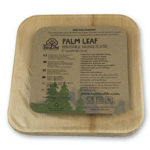 Palm Square Plate w/ Ribs (19.5cm) 5PC - Natural