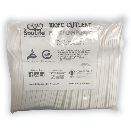 Cornstarch 100PC Fork Cutlery Set - Natural