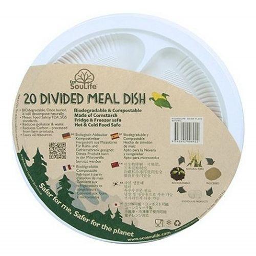 Cornstarch Divider Plate (25cm) 20PC - Natural