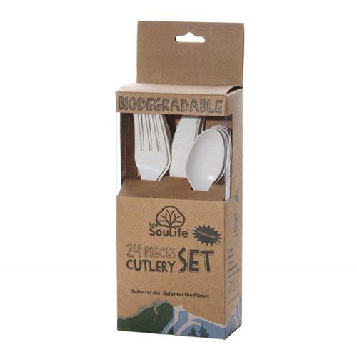 Cornstarch Cutlery Set 24PC - Natural