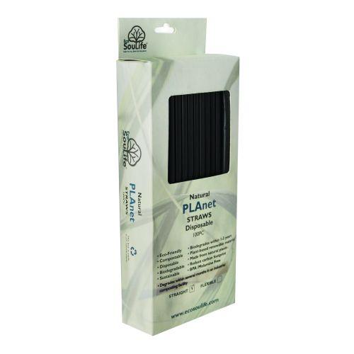 Straight PLA Straws (Black) - 100s