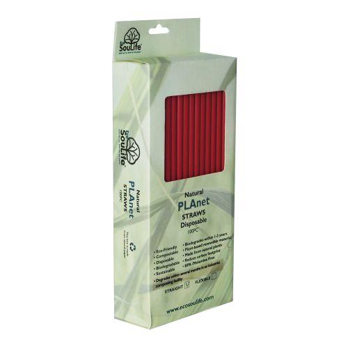Straight PLA Straws (Red) - 100s