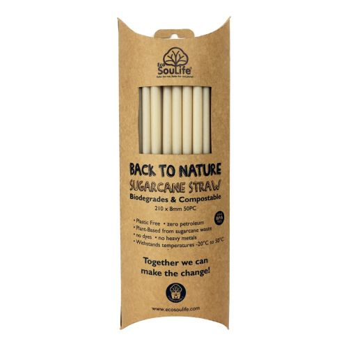 Sugar Cane Straws - 50 Pack